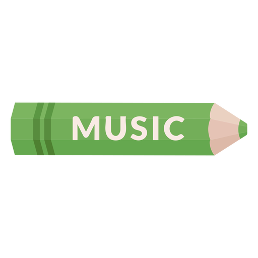 Icono de música de tema escolar de lápiz de color