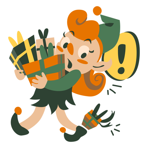 Cute christmas elf carrying boxes Transparent PNG