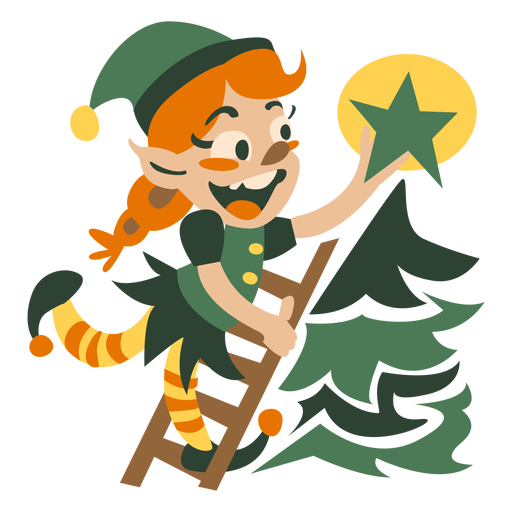 Cute christmas elf decorating Transparent PNG