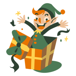 Cute christmas elf jump out box