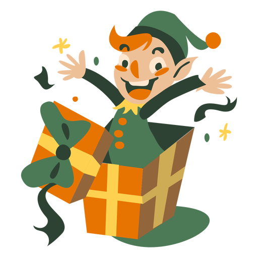 Cute christmas elf jump out box Transparent PNG
