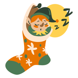 Cute christmas elf sleeping sock