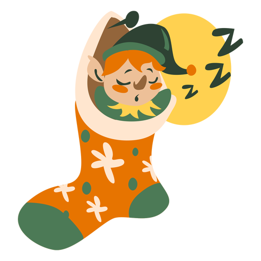 Lindo calcetín para dormir elfo navideño