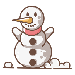 Cute smiling snowman arms up