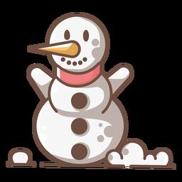 Lindo muñeco de nieve sonriente brazos arriba