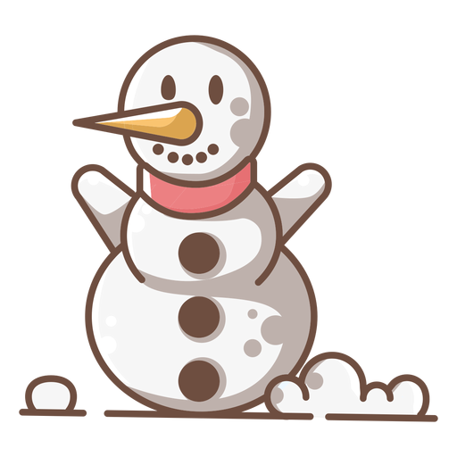 Lindo muñeco de nieve sonriente brazos arriba Transparent PNG