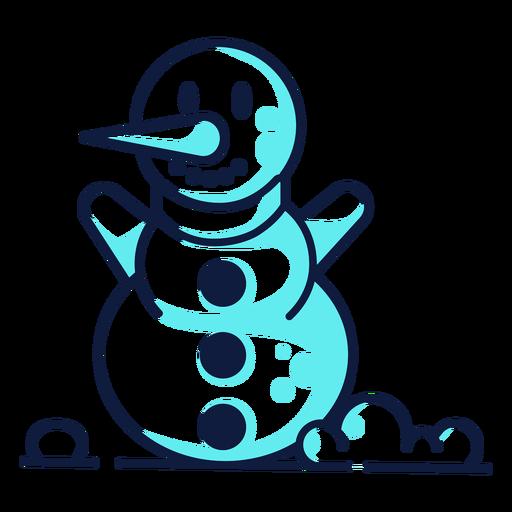 Lindo sonriente muñeco de nieve cian duotono Transparent PNG