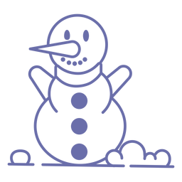 Cute smiling snowman scarf outline