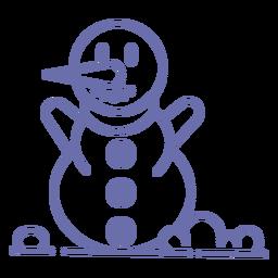 Lindo contorno de bufanda de muñeco de nieve sonriente
