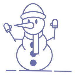 Cute snowman gloves hat scarf outline