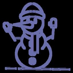 Lindo muñeco de nieve guantes sombrero bufanda contorno
