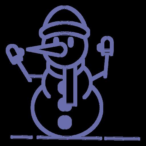 Lindo muñeco de nieve guantes sombrero bufanda contorno Transparent PNG