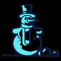 Lindo muñeco de nieve sombrero bufanda cian duotono