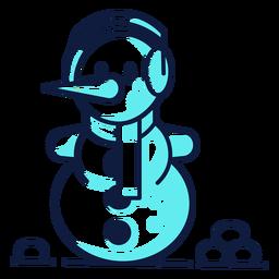 Muñeco de nieve lindo auriculares bufanda cian duotono