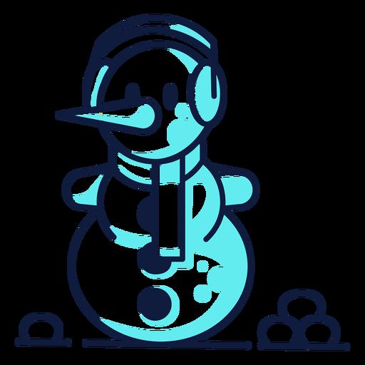 Lindo muñeco de nieve para auriculares bufanda cian duotono Transparent PNG