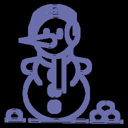 Lindo contorno de bufanda de auriculares de muñeco de nieve