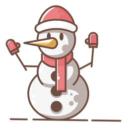 Cute snowman red gloves hat scarf