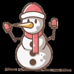 Lindo muñeco de nieve rojo guantes sombrero bufanda