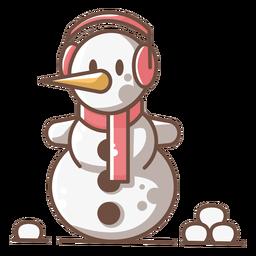 Bufanda linda de los auriculares del muñeco de nieve roja