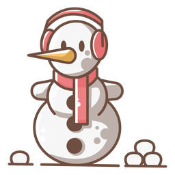 Cute snowman red headphone scarf