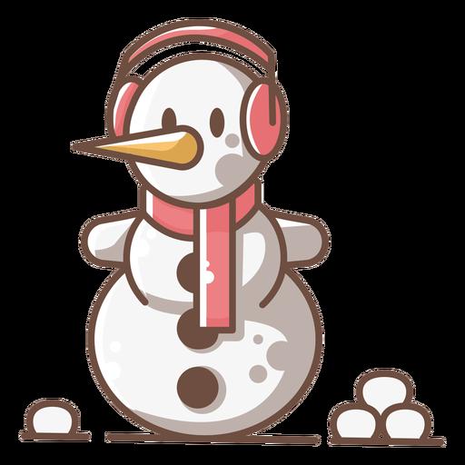Bufanda linda de los auriculares del muñeco de nieve roja Transparent PNG
