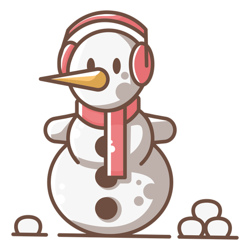 Cute Snowman Red Headphone Scarf Transparent Png Svg Vector File