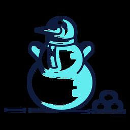 Lindo muñeco de nieve bufanda cian duotono