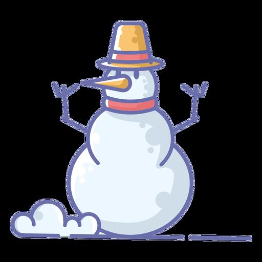 Lindo muñeco de nieve sombrero amarillo Transparent PNG