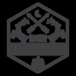 Logo de insignia de aventura de caza al aire libre de ciervos
