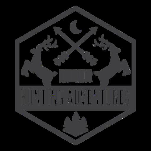 Logo de insignia de aventura de caza al aire libre de ciervos Transparent PNG