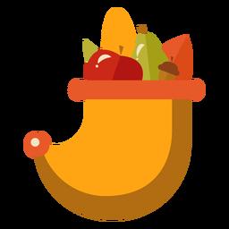 Flat thanksgiving cornucopia symbol