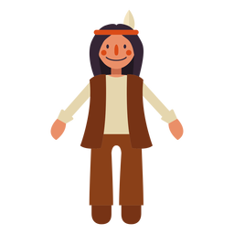 Flat thanksgiving indian character