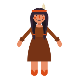 Flat thanksgiving indian woman symbol