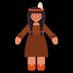Símbolo de mujer india plana de acción de gracias