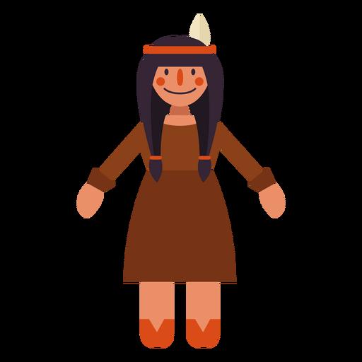 Flat thanksgiving indian woman symbol Transparent PNG
