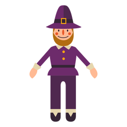 Flat thanksgiving pilgrim character