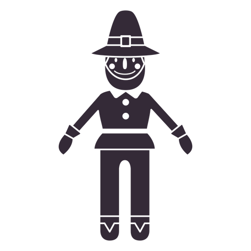 Flat thanksgiving pilgrim character stencil