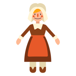 Flat thanksgiving pilgrim woman character