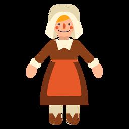 Personagem de mulher plana peregrino de ação de Graças
