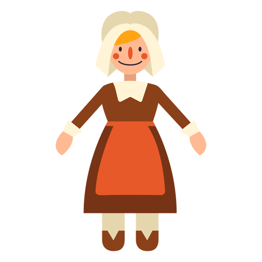 Flat thanksgiving pilgrim woman character Transparent PNG