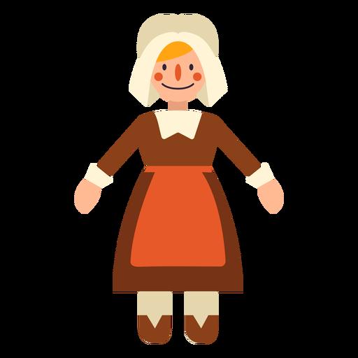 Flat thanksgiving pilgrim woman character