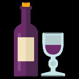 Símbolo de vino de acción de gracias plana