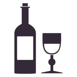 Flat thanksgiving wine symbol stencil