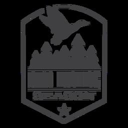 Logotipo do emblema de caça de pássaros da floresta