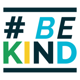 Hashtag be kind colorful lettering