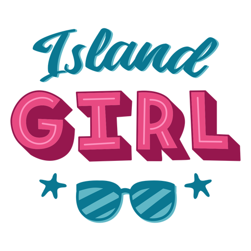 Island girl hawaiian lettering Transparent PNG