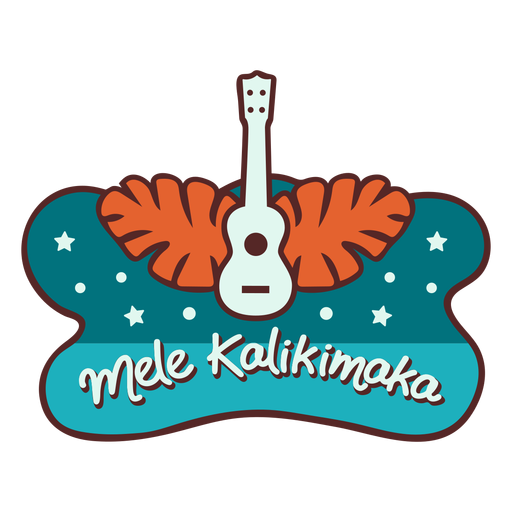 Mele kalikimaka guitar palm leaves banner Transparent PNG