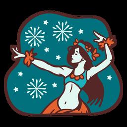 Mele kalikimaka bailarina de hula copo de nieve