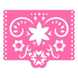 Mexican tropical floral pink stencil
