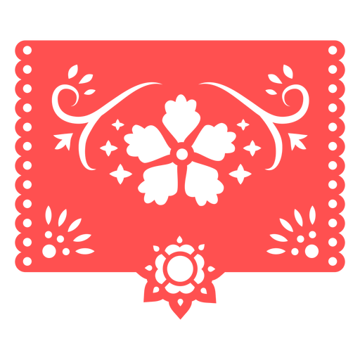 Mexican tropical floral red stencil